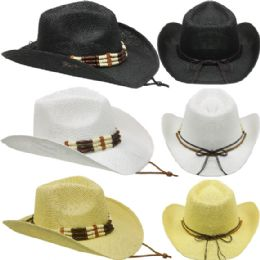 24 Units of Assorted Cowboy Hat With Beaded Band - Cowboy & Boonie Hat