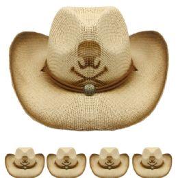 36 Units of Skull And Cross Bones Cowboy Hat - Cowboy & Boonie Hat