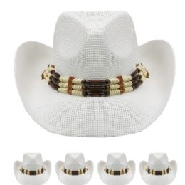 24 Units of White Cowboy Hat With Beading - Cowboy & Boonie Hat