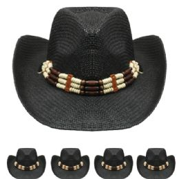 24 Units of Black Cowboy Hat with Beading - Cowboy & Boonie Hat
