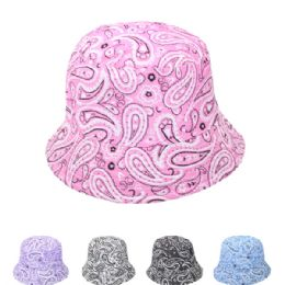 24 Units of Paisley Print Summer Hat Assorted - Sun Hats