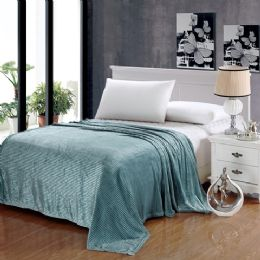 12 Units of The Collection 100% Polyester Queen Size Blankets Aqua - Blankets & Bedding