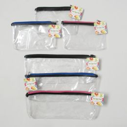 144 Units of Clear Zipper Pouch 2 Sizes 3 Zipper Clrs/5x12.5 & 5x7.75in Hangtag - Pencil Boxes & Pouches