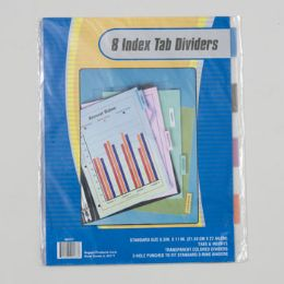 108 Units of Index Tab Dividers 8ct Transparent Colors 3 Hole Punch Stationary Insert - Labels ,Cards and Index Cards