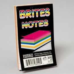 96 Units of Notes Pad 3x5 Inch Glued 5 Asstd Colours 300 Ct 5/16 Inch Ruled - Sticky Note & Notepads
