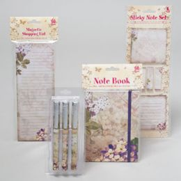 96 Units of Stationary Shipper 4asst Floral Notebook/shopping List/3pk Pen/ Sticky Note Spring Print 48pcp - Sticky Note & Notepads
