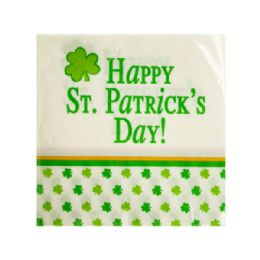 144 Units of Happy St. Patrick's Day Beverage Napkins - Napkin and Paper Towel Holders