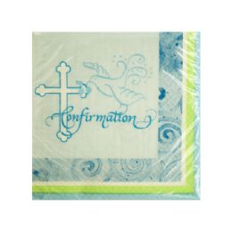 144 Units of Blue Faithful Dove Confirmation Beverage Napkins - Napkin and Paper Towel Holders