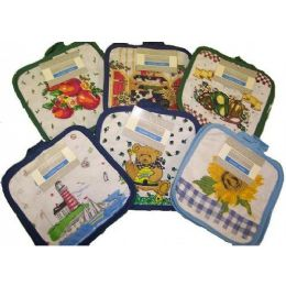 144 Units of 2pk 7x8 Printed Pot Holder - Assts Print - Oven Mits & Pot Holders