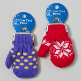 48 Units of Mitten Coin Purse 4.5 X 3.5in Asst Colors On 12pc Mdsg Strip Tie On Card - Coin Holders & Banks