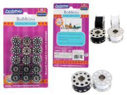 144 Units of 15pc Bobbin Spools - Sewing Supplies