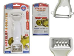 144 Units of 2 In 1 White Vegetable Peeler And Grater - Kitchen Gadgets & Tools