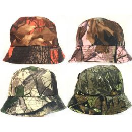 24 Units of Camouflage Bucket Hats Assorted - Bucket Hats