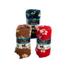 9 Units of Fleece Paw Print Pet Blanket - Pet Accessories
