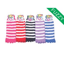 120 Units of Womens Fuzzy Fur Lined Cotton Socks Assorted Color - Fleece Gloves