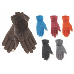 60 Units of Ladies Fashion Fur Lined Cotton Gloves - Knitted Stretch Gloves