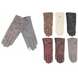 72 Units of Womens Fashion Fur Lined Cotton Gloves Assorted Color - Knitted Stretch Gloves