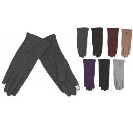 60 Units of Womens Fashion Fur Lined Cotton Gloves Assorted Color - Knitted Stretch Gloves