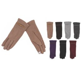 72 Units of Womens Fashion Fur Lined Cotton Gloves Assorted Color Touch Screen Capable - Conductive Texting Gloves