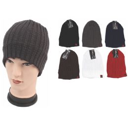 72 Units of Mens Fashion Heavy Knitted Winter Hat Assorted Color - Fashion Winter Hats