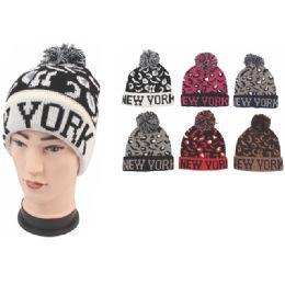 "72 Units of Unisex Fashion Cheetah Print ""New York"" Heavy Knit Hats - Fashion Winter Hats"