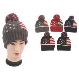 72 Units of Unisex American Flag Beanie Hat - Winter Beanie Hats
