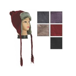 48 Units of Unisex Winter Aviator Hat With Fur Lining Assorted Colors - Winter Beanie Hats