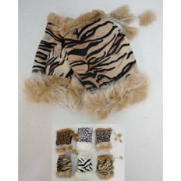 24 Units of Women's Animal Print Suede with Fur Fingerless Gloves - Knitted Stretch Gloves