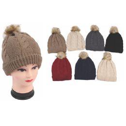 72 Units of Womens Fashion Pom Pom Heavy Knit Hats - Fashion Winter Hats