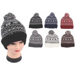 72 Units of Ladies Fashion Snow Flake Heavy Knit Hats - Fashion Winter Hats