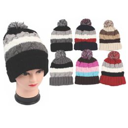 72 Units of Ladies Fashion Heavy Knit Hats Assorted Colors - Fashion Winter Hats