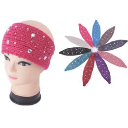 120 Units of Womens Fashion Assorted Color Winter HEadbands With Stones - Ear Warmers