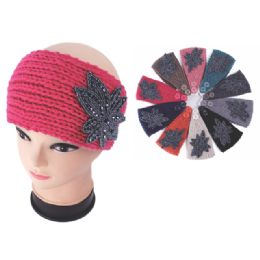 120 Units of Womens Fashion Assorted Color Winter Headband With Shimmery Flower - Ear Warmers