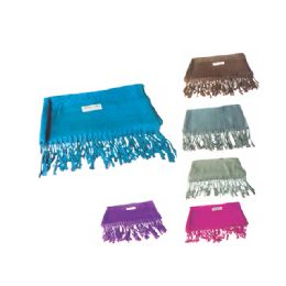 72 Units of Womens Fashion Scarf With Fringes Assorted Solid Colors - Winter Scarves