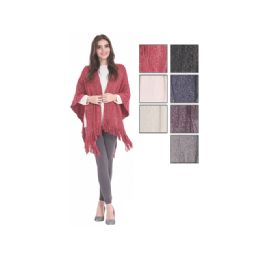 24 Units of Womens Fashion Assorted Color Ponchos - Winter Pashminas and Ponchos