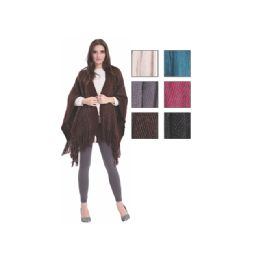 24 Units of Womens Fashion Assorted Color Poncho With Fringes - Winter Pashminas and Ponchos