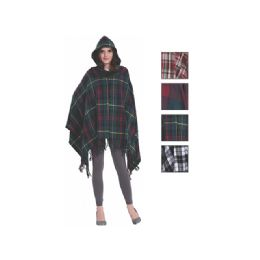 24 Units of Womens Fashion Assorted Color Poncho With Hoodie - Winter Pashminas and Ponchos