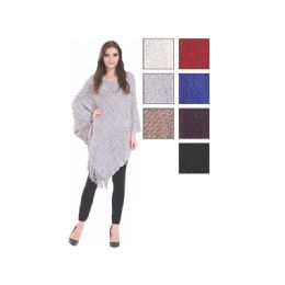 24 Units of Womens Fashion Solid Color Poncho With Fringes - Winter Pashminas and Ponchos