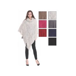24 Units of Womens Fashion Solid Color Poncho Turtleneck With Fringes - Winter Pashminas and Ponchos