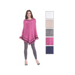 24 Units of Womens Fashion Two Tone Assorted Color Poncho - Winter Pashminas and Ponchos