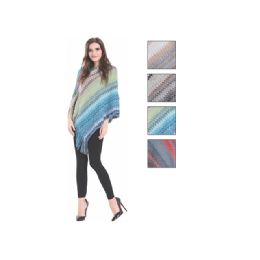 24 Units of Womens Fashion Multi Colored Poncho With Fringes - Winter Pashminas and Ponchos
