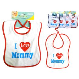 """288 Units of I Love Mommy Baby Bib 9x12.5"""" H 4asst Clr - Baby Accessories"""