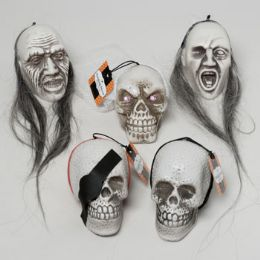 96 Units of 5in 5 Assorted Skull With/long Hair Hanging Decorpirate/witch/bride Etc Halloween Hangtag - Halloween & Thanksgiving