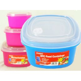 48 Units of 3 Piece Assorted Color Square Food Container - Food Storage Containers