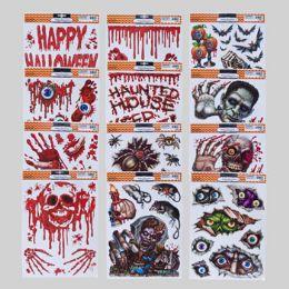 96 Units of Window Cling Halloween Horror 12ast - Halloween & Thanksgiving