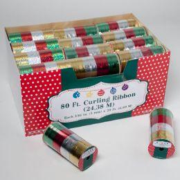 108 Units of Curling Ribbon 4clr/spool 80ft 3ast Finish Met/embs/lsr 36pcpdq Christmas Pdq - Christmas Novelties