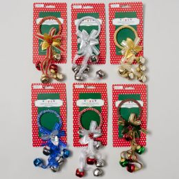 108 Units of Door Greeter Jingle Bell 6asst W/5 Bells/bow/ribbon Xmas Tcd