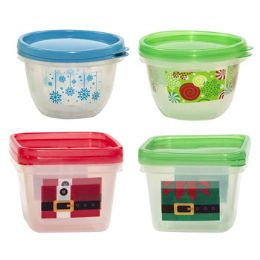96 Units of Food Storage Container 2pack Square & Round With/christmas Print Red Or Green With/printed Sleeve - Christmas Novelties