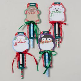72 Units of Notepad W/pen Christmas Lollipop Style Look 4ast/80sheet Printed W/ribbon Christmas Label - Christmas Novelties