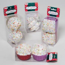 96 Units of Ornament 2pk Cupcake Rnd/square Or Candy Tree 4ast Pvc Box/label - Christmas Ornament